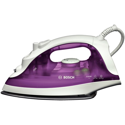 Iron Bosch TDA2329 Purple/White, 2200 W, With cord, Continuous steam 22 g/min, Steam boost performance 70 g/min, Anti-scale system, Vertical steam function, Water tank capacity 220 ml
