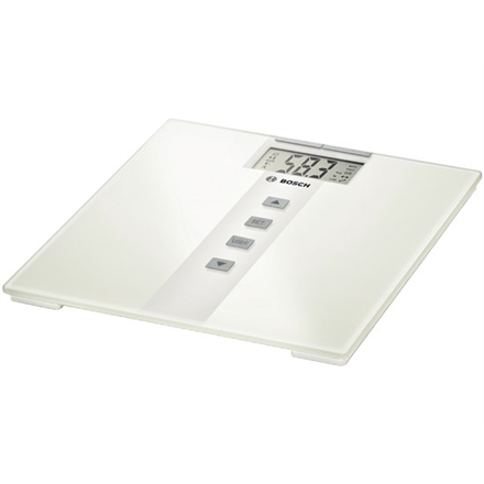 Scales Bosch Maximum weight (capacity) 180 kg, Accuracy 100 g, Memory function, 10 user(s), White, Body Mass Index (BMI) measuring