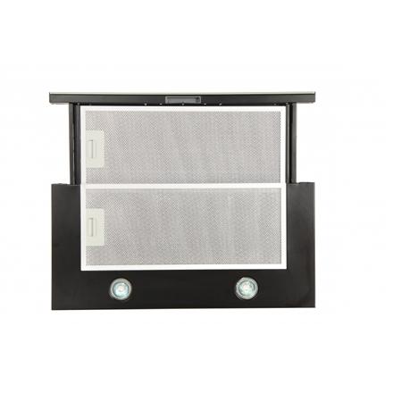 Hood Eleyus Mechanical panel, Width 60 cm, 566 m³/h, 1000 m³/h, Black + Black glass, 51.5 dB, Built-in telescopic
