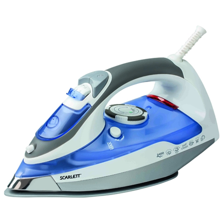 Iron Scarlett SC-1337SR Blue/Grey/White, 2400 W, With cord, Continuous steam 40 g/min, Steam boost performance 120 g/min, Auto power off, Anti-drip function, Anti-scale system, Vertical steam function, Water tank capacity 300 ml