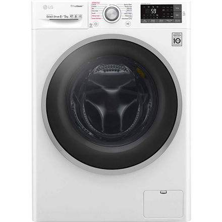 LG Washing machine with dryer F4J7TH1W Front loading, Washing capacity 8 kg, Drying capacity 5 kg, 1400 RPM, Direct drive, A, Depth 60 cm, Width 60 cm, White, Steam function, Display, LCD, Drying system