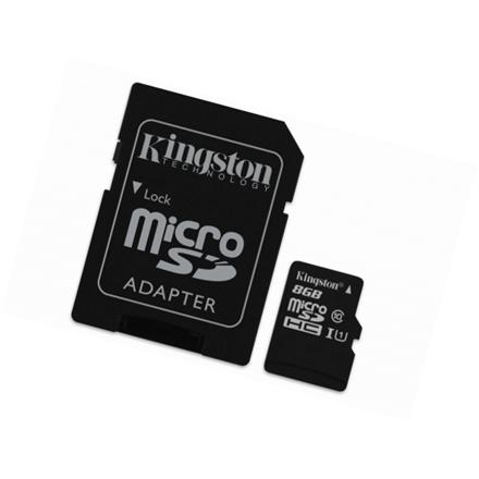 Kingston Industrial Temperature UHS-I U1 8 GB, MicroSDHC, Flash memory class 10, SD Adapter