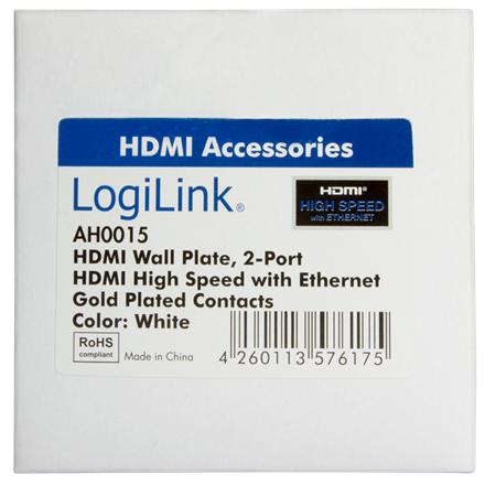 Logilink HDMI Wall Plate AH0015 2 x HDMI female, HDMI wall plate, 1 X HDMI female
