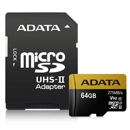 ADATA Premier ONE UHS-II U3 64 GB, MicroSDXC, Flash memory class 10, Adapter