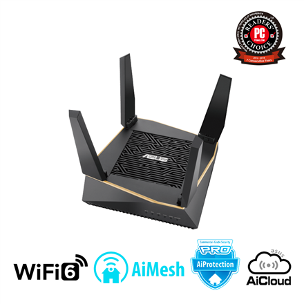 Asus Router RT-AX92U 1PK 802.11ax, 400+ 867+ 4804 Mbit/s, 10/100/1000 Mbit/s, Ethernet LAN (RJ-45) ports 4, Mesh Support Yes, MU-MiMO Yes, 3G/4G via optional USB adapter, Antenna type 4xExternal, 2xInternal, USB 2.0 x 1, USB 3.1 Gen 1 x 1, WiFi 6 Gaming Router AX6100), AiMesh, AiProtection Pro, WTFast game accelerator, Adaptive QoS, AiCloud 2.0, AiDisk, AiRadar