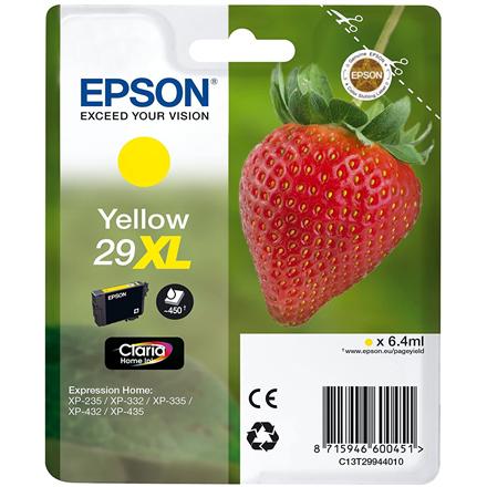 Epson Singlepack Yellow 29XL Claria Home Ink Cartridge, Yellow