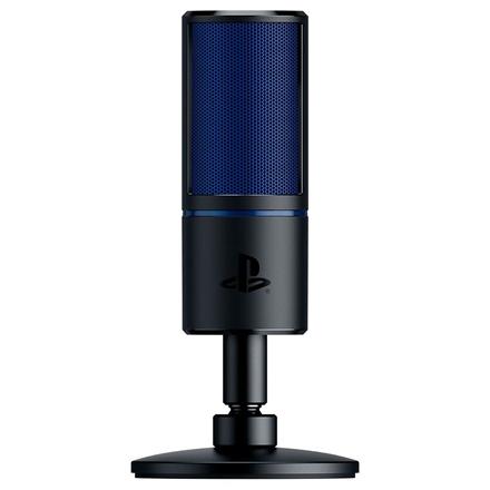 Razer Seiren X Black, blue, Zero-latency 3.5 mm headphone monitoring port, Cardioid Condenser Microphone PS4 version