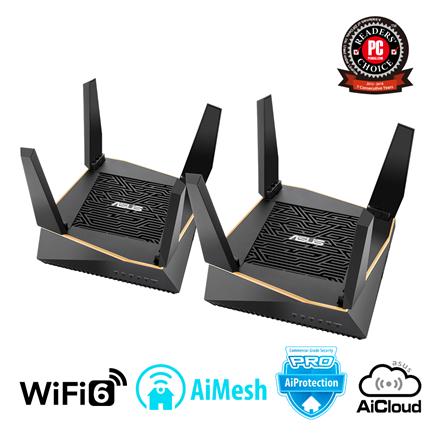 Asus Router RT-AX92U 2PK 802.11ax, 400+ 867+ 4804 Mbit/s, 10/100/1000 Mbit/s, Ethernet LAN (RJ-45) ports 4, Mesh Support Yes, MU-MiMO Yes, 3G/4G via optional USB adapter, Antenna type 4xExternal, 2xInternal, USB 2.0 x 1, USB 3.1 Gen 1 x 1, AiMesh AX6100 WiFi System AX6100, AiProtection Pro, WTFast game accelerator, Adaptive QoS, AiCloud 2.0, AiDisk, AiRadar