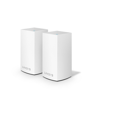 Linksys WHW0102 Velop Intelligent Mesh WiFi System, 2-Pack 802.11ac, 400+867 Mbit/s, 10/100/1000 Mbit/s, Ethernet LAN (RJ-45) ports 2, Mesh Support Yes, MU-MiMO Yes, No mobile broadband, Antenna type Internal