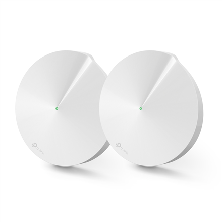 TP-LINK Home Mesh Wi-Fi System Deco M9 Plus (2-Pack) 802.11ac, 400+867+867 Mbit/s, 10/100/1000 Mbit/s, Ethernet LAN (RJ-45) ports 2, Mesh Support Yes, MU-MiMO Yes, Antenna type 8xInternal, 1xUSB 2.0