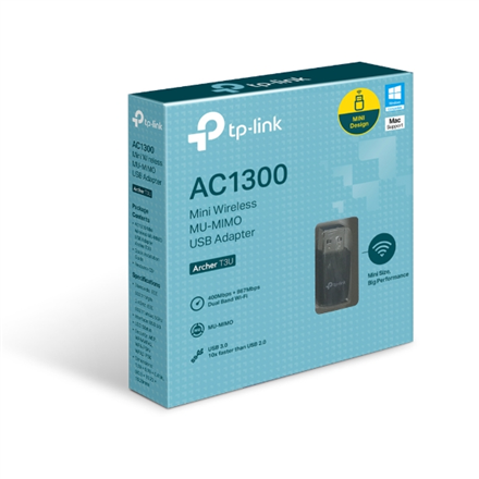 TP-LINK MU-MIMO USB 3.0 Adapter Archer T3U 2.4GHz/5GHz, 802.11ac, Internal antenna