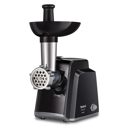 TEFAL Meat mincer NE105838 Black, 1400 W, Number of speeds 1, Throughput (kg/min) 1.7, The set includes 3 stainless steel sieves for medium or coarse grinding.