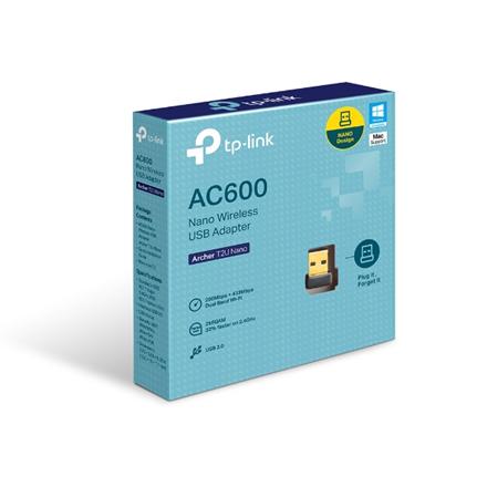 TP-LINK Dual Band USB 2.0 Adapter Archer T2U Nano 2.4GHz/5GHz, 802.11ac, 200+433 Mbps