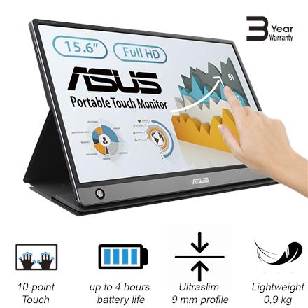 "Asus MB16AMT 15.6 "", Touchscreen, IPS, FHD, 16:9, 5 ms, 250 cd/m², Dark gray, HDMI ports quantity 1   Asus PROMO! Pirk monitorių ir gauk Microsoft Office 365 programine įranga dovanų!"