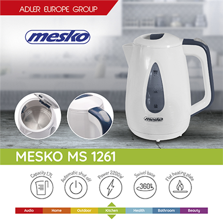 Mesko Kettle MS 1261 Electric, 2200 W, 1.7 L, Plastic, White, 360° rotational base
