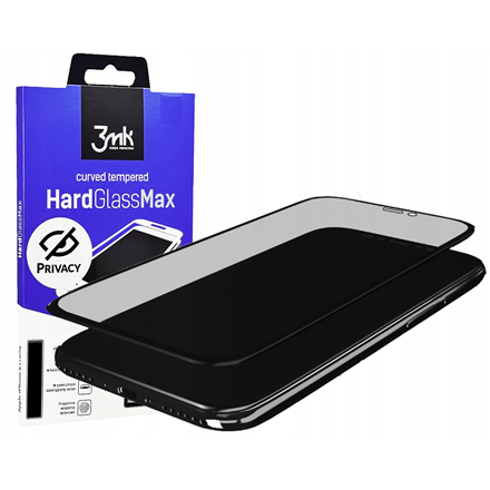 3MK HardGlass Max Privacy Screen protector, Apple, iPhone 11, Tempered Glass, Transparent