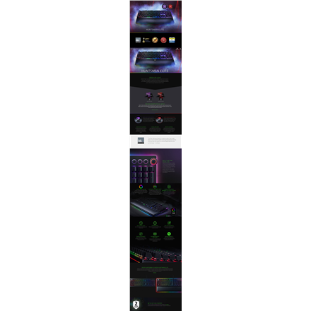 Razer Huntsman Elite Gaming Keyboard, US layout, Wired, Black