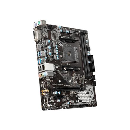 MSI B450M-A PRO MAX Processor family AMD, Processor socket AM4, DDR4 DIMM, Memory slots 2, Number of SATA connectors 4, Chipset AMD B, Micro ATX