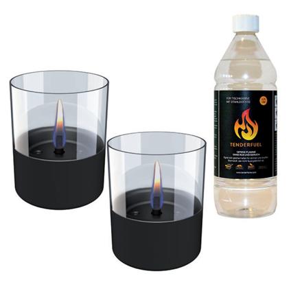 Tenderflame Gift Set, 2 Tabletop burners + 0,7 L fuel,  Lilly 10 cm Black