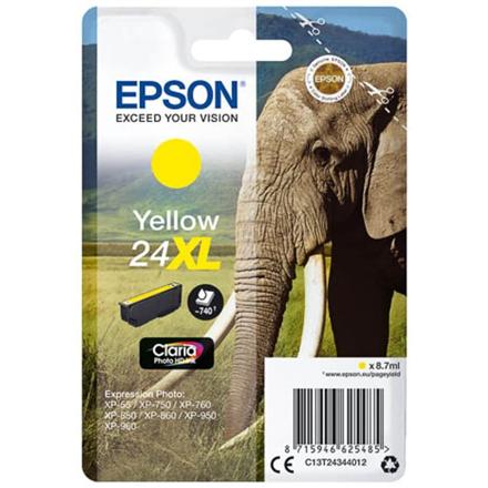 Epson Singlepack Yellow 24XL Claria Photo HD Ink Cartridge, Yellow