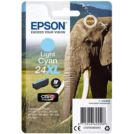 Epson Singlepack Light Cyan 24XL Claria Photo HD Ink Cartridge, Light Cyan