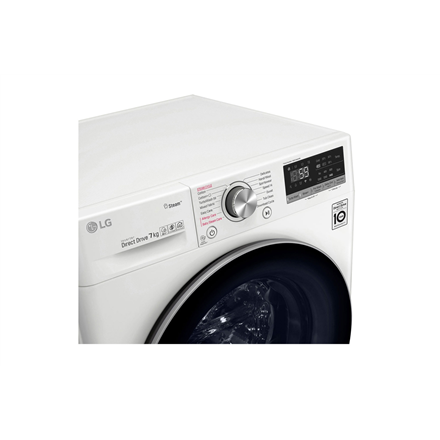 LG Washing machine F2WN6S7S1 Energy efficiency class E, Front loading, Washing capacity 7 kg, 1200 RPM, Depth 45 cm, Width 60 cm, Display, LED touch screen, Steam function, Direct drive, Wi-Fi, White