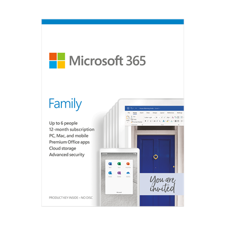Microsoft 365 Family 6GQ-01159 Up to 6 People, License term 1 year(s), Lithuanian, Medialess, P6