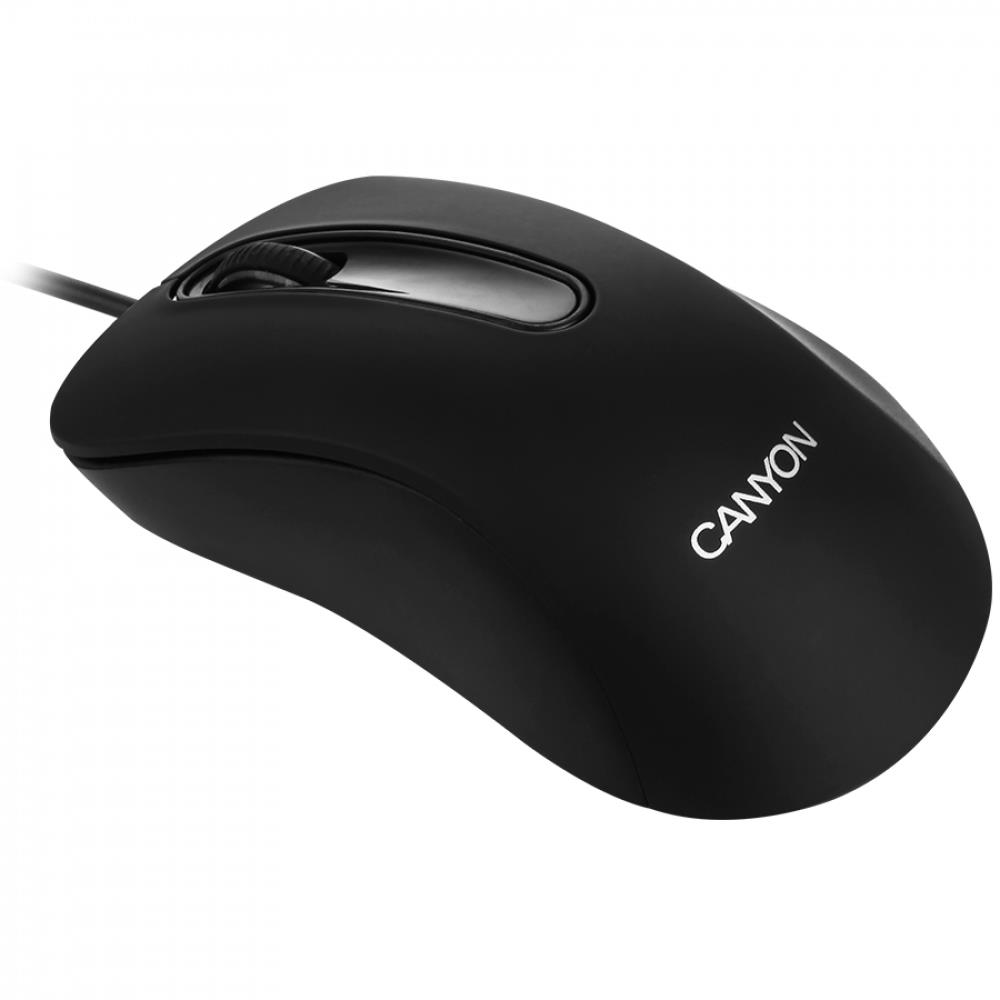 CANYON CM-2 Wired Optical Mouse with 3 buttons, 1200 DPI optical technology for precise tracking, black, cable length 1.5m, 108*65*38mm, 0.076kg