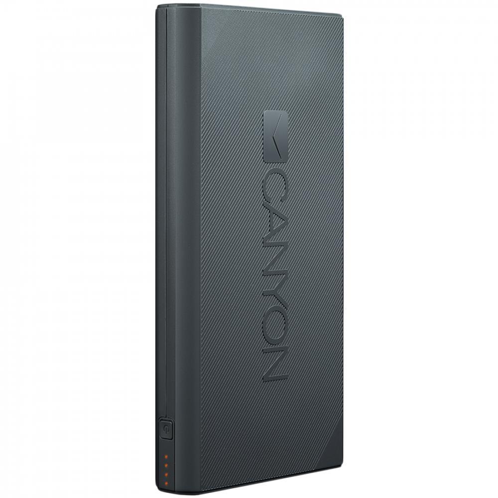 CANYON Power bank 16000mAh Li-ion battery, with Smart IC, Input 5V/2A, Outpput 5V/2.4A, cable length 0.24m, 161*81*22mm, 0.45kg, Dark Gray | Akcija