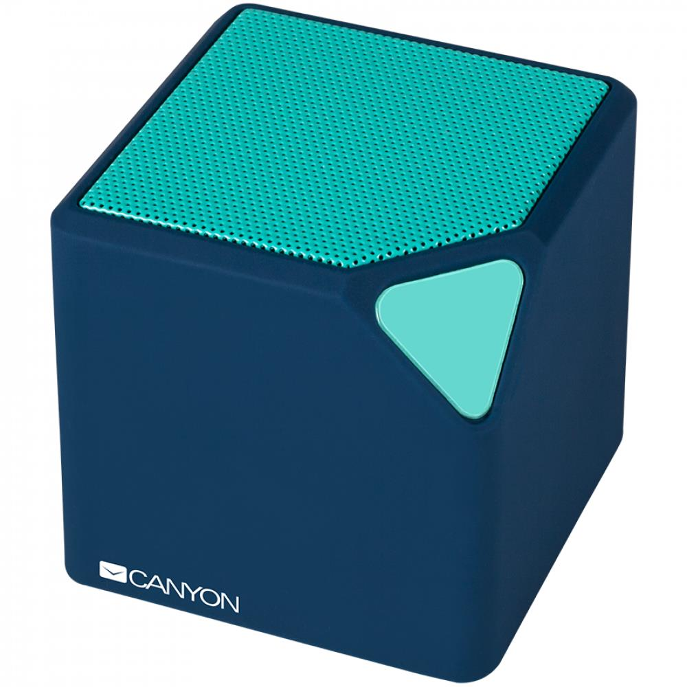 CANYON EOL Portable Bluetooth V4.2+EDR stereo speaker with 3.5mm Aux, micro-USB port, bulit in 300mAh battery, Dark blue, cable leagth 0.25m, 52*52*52mm, 0.137kg