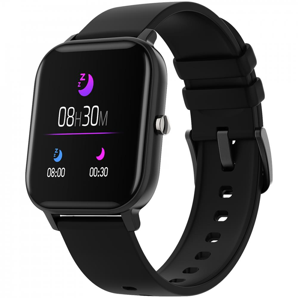 Smart watch, 1.3inches TFT full touch screen, Zinic+plastic body, IP67 waterproof, multi-sport mode, compatibility with iOS and android, black body with black silicon belt, Host: 43*37*9mm, Strap: 230x20mm, 45g