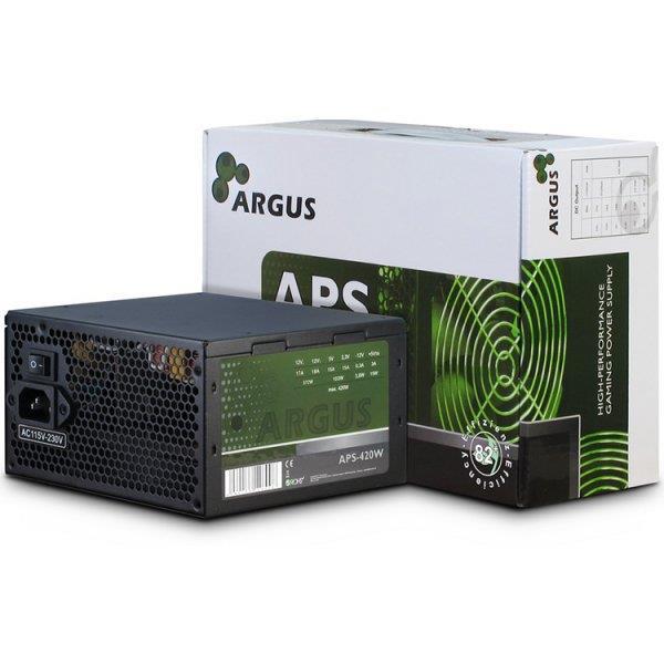 Power Supply Unit Inter-Tech Argus 420W PSU, efficiency 85.5%, dual rail (17A/18A), 120 mm silent fan with automatic control, 1x6+2pin PCIE, 3xSATA, 2xMolex, 1xFloppy, 1x4+4pin EPS12V, SCP/OCP/OVP//OPP/NLP, Active PFC,  ATX 2.31, sizes: 86x15x140 mm