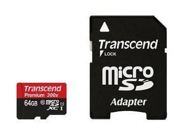 MEMORY MICRO SDXC 64GB W/ADAPT/CLASS10 TS64GUSDU1 TRANSCEND