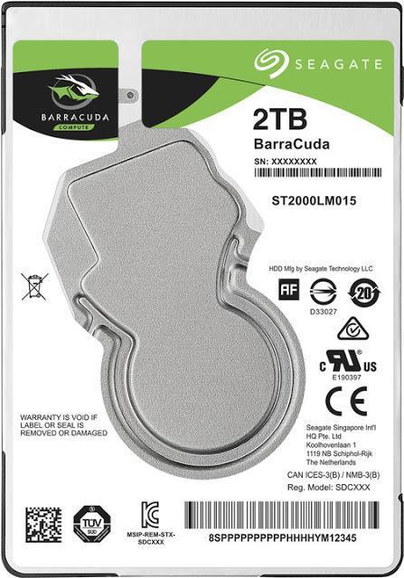 """HDD SEAGATE Barracuda 2TB SATA 3.0 128 MB 5400 rpm 2,5"""" Thickness 7mm ST2000LM015"""