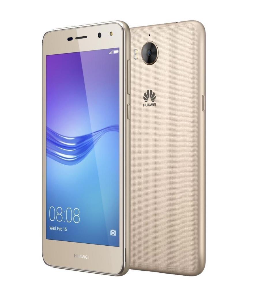 "Smartphone | HUAWEI | Y6 2017 | 16 GB | Gold | OS Android 6.0 | Screen  5"" | 720 x 1280 | IPS-LCD | Dual SIM | 1xMicro-USB | 1xHeadphones jack | 2xNano-SIM card tray | Camera 13MP | 5MP | Battery 3000 mAh | 51091MCE"