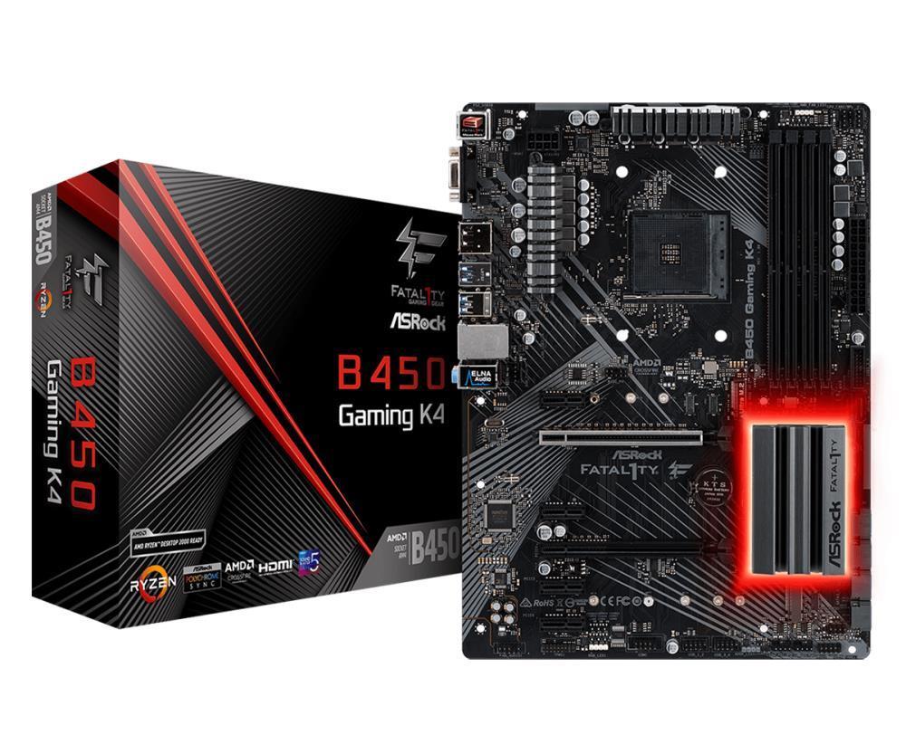 Mainboard|ASROCK|AMD B450|SAM4|ATX|4xPCI-Express 2.0 1x|6xPCI-Express 3.0 16x|2xM.2|Memory DDR4|Memory slots 4|1x15pin D-sub|1xHDMI|1xDisplayPort|1xAudio-In|1xAudio-Out|1xMicrophone|2xUSB 2.0|5xUSB 3.1|1xUSB type C|1xPS/2|1xRJ45|B450GAMINGK4