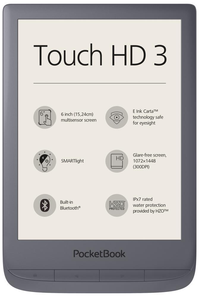 "E-Reader POCKETBOOK Touch HD 3 6"" 1072x1448 1xMicro-USB Wireless LAN 802.11b/g/n Grey PB632-J-WW"