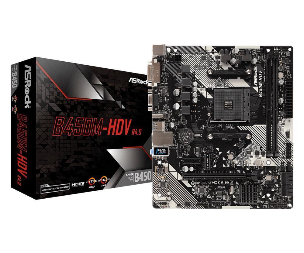 Mainboard ASROCK AMD B450 SAM4 MicroATX 1xPCI-Express 2.0 1x 1xPCI-Express 3.0 16x 1xM.2 Memory DDR4 Memory slots 2 1x15pin D-sub 1xDVI 1xHDMI 2xUSB 2.0 4xUSB 3.1 1xPS/2 1xRJ45 3xAudio port B450M-HDVR4.0