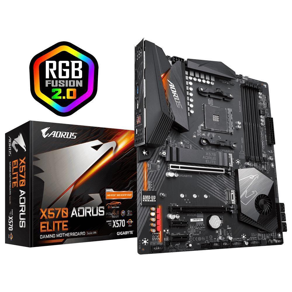 Mainboard|GIGABYTE|AMD X570|SAM4|ATX|2xPCI-Express 1x|1xPCI-Express 4x|1xPCI-Express 16x|2xM.2|Memory DDR4|Memory slots 4|1xHDMI|4xUSB 2.0|6xUSB 3.2|1xOptical S/PDIF|1xRJ45|5xAudio port|X570AORUSELITE