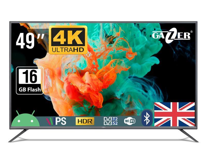 "TV Set|GAZER|49""|4K/Smart|3840x2160|Wireless LAN|Bluetooth|Android|Graphite|TV49-US2G"