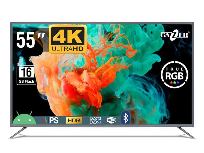 "TV Set|GAZER|55""|4K/Smart|3840x2160|Wireless LAN|Bluetooth|Android|Graphite|TV55-US2G"