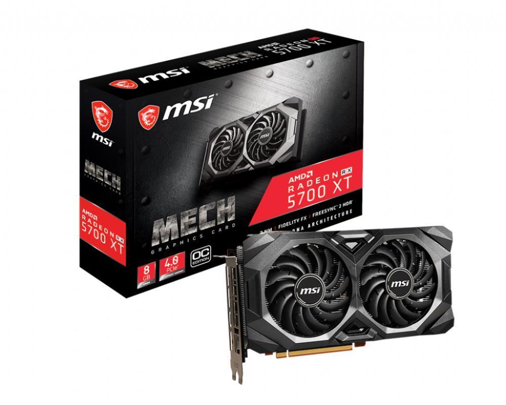 Graphics Card|MSI|AMD Radeon RX 5700 XT|8 GB|256 bit|PCIE 4.0 16x|GDDR6|GPU 1670 MHz|Dual Slot Fansink|1xHDMI|3xDisplayPort|RX5700XTMECHOC
