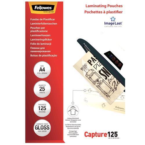 LAMINATOR POUCH GLOSSY/A4 125 25PCS 5396301 FELLOWES