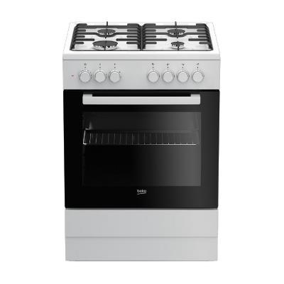 BEKO Cooker FSE62120DW 60 cm, Gaz/Electric, White color/black glass