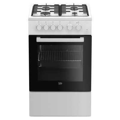 BEKO Cooker FSS52010DW 50 cm, Gaz/Electric, White color/black glass