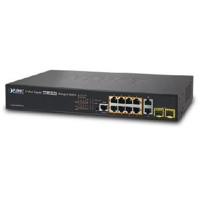 8-Port 10/100/1000T 802.3at PoE + 2-Port 10/100/1000T + 2-Port 100/1000X SFP Managed Switch