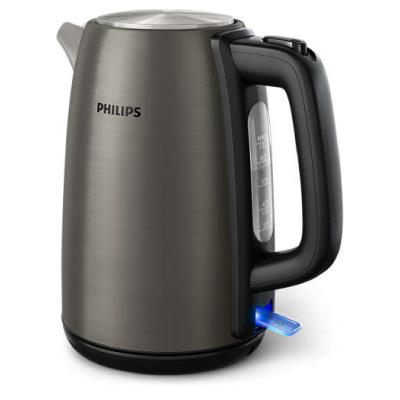 Philips Kettle HD9352/80 2200W 1.7l, solar titanium colored metal kettle, spring lid