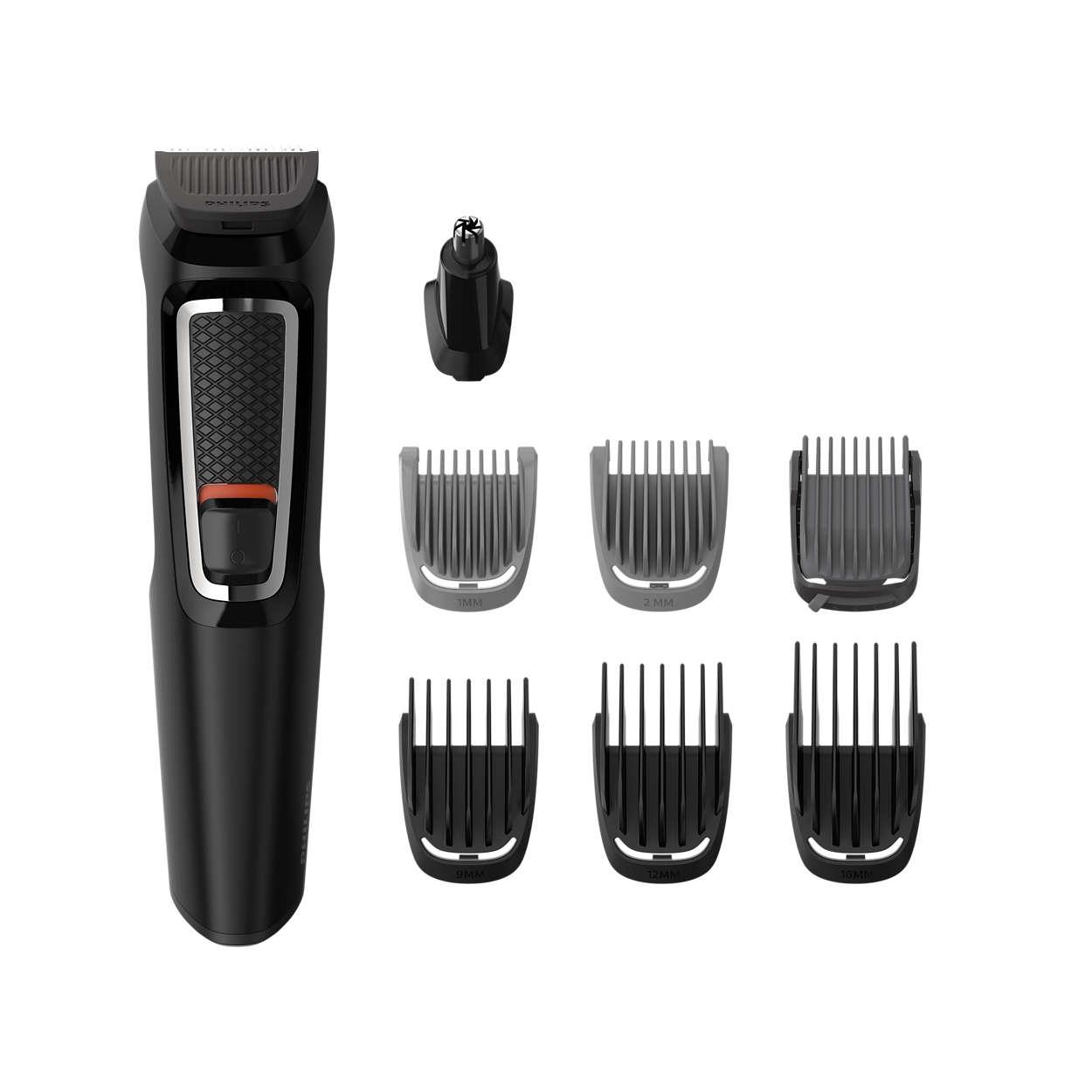 Philips Multigroom series 3000 8-in-1, Face and Hair MG3730/15 8 tools Self-sharpening steel blades Up to 60 min run time Rinseable attachments